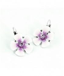 Boucles d'oreilles fleurs violettes