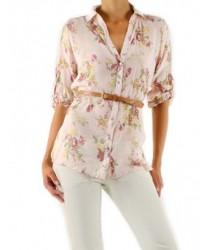 Chemise avec ceinture et imprimé fleurs