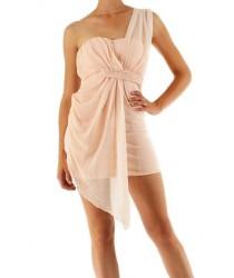 Robe de soirée asymétrique rose Ethina