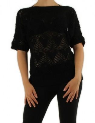Pull filet noir avec motifs coeur Medi Mode