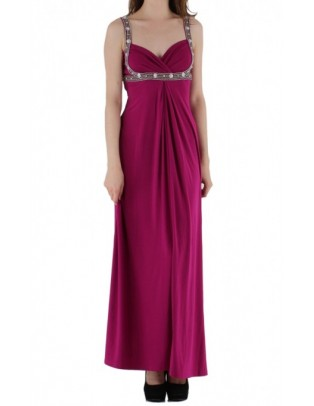 Jaune Rouge robe de soirée longue fushia
