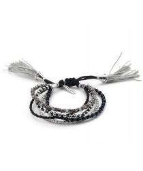 Bracelet perles noir et argent