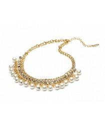 Collier fantaisie doré strass et perles nacrées