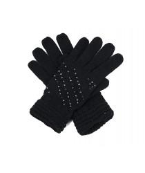 Gants noirs à strass
